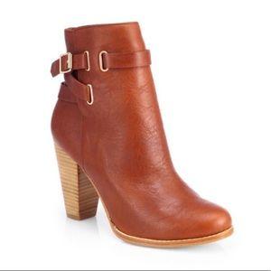 Joie Easton Cognac Leather Ankle Bootie